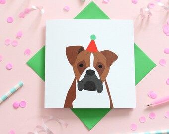 Birthday boxer dog card