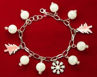 Pink Christmas Charm Bracelet