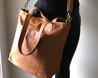 Leather Tote Handbag with pocket. Timeless and traditional handmade tote,strong straps,Large leather tote bag, with outside pocket.