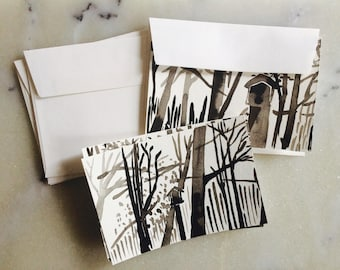 Handmade WaterColor Treehouse Notecards- Set of 4
