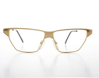 Unique Gold Wide Triangular Horn Rim Vintage Optical Frame with Clear Lens -  Marco