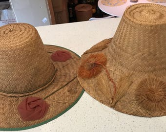 PAIR of Vintage Straw Bucket Hat Mod 60's Flower Floral Project Hats