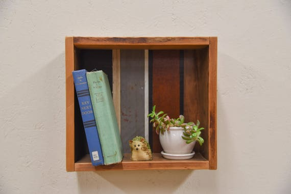 Shadow box wall shelf handmade with reclaimed wood, wood shelf, wall shelf, geometric, rustic decor, housewarming gift, home sweet home