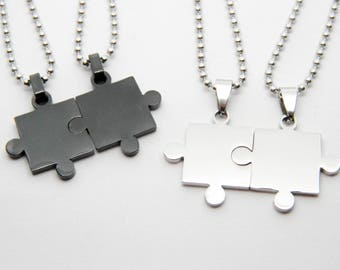 Valentine love couple necklaces boyfriends PUZZLE steel