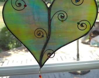 Whimsical Glass Heart Sun Catchers