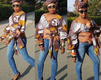 Towani Creations Ankara Wrap Top With Exaggerated Ruffle Puff Sleeves Size 8-24UK/4-20USA/XS,S,M,L,XL,2XL,3XL