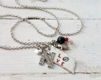 Nebraska Necklace, Love, Football, Handstamped Aluminum, Corn, Rhinestone N, Heart, Home, Game Day, College, Graduate, Gift for Her