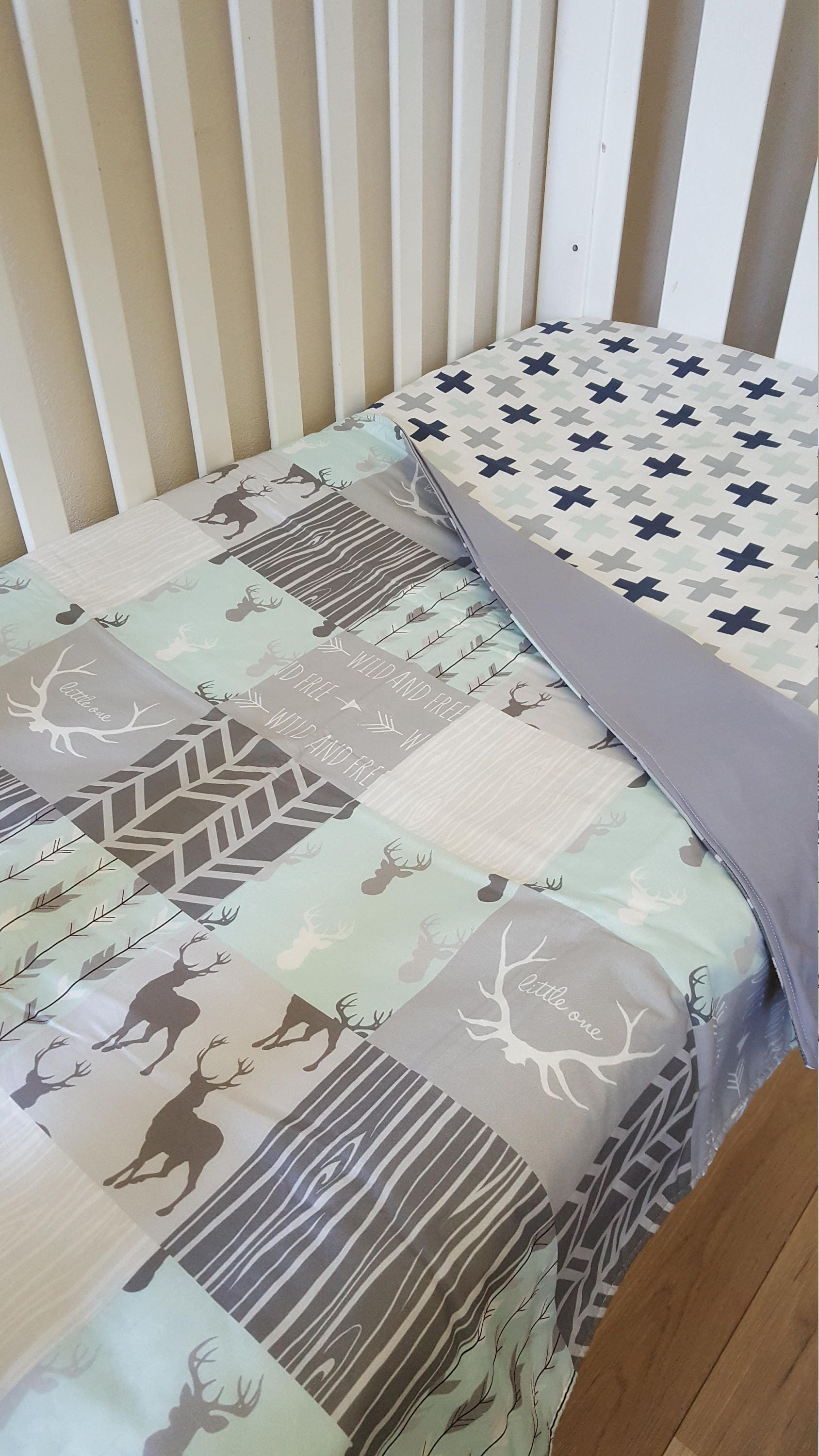 Swiss cross Fitted Crib Sheet baby cot sheet baby bedding Navy