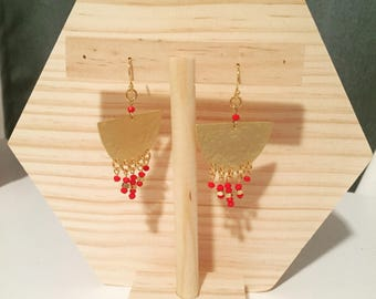 Gold hammered with red beads and gold plated dangle earrings