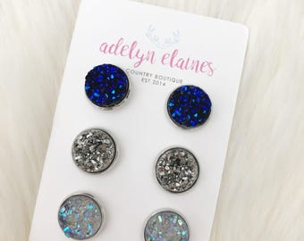 Blue Suede, Gunmetal & Gray Druzy Earrings Studs - 12 mm Druzy Earrings