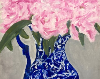 """Original Acrylic Painting """"Peonies in the Blue & White Pitcher"""".   11 x 14 canvas."""