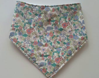 Floral bandana baby bib, cotton print, plain white minky backing, Australian handmade