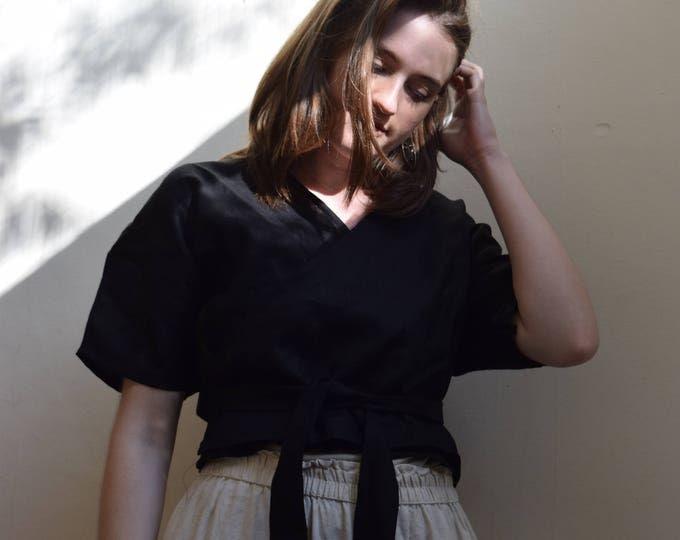 Juliet Black Linen Wrap Top  | Print Optional