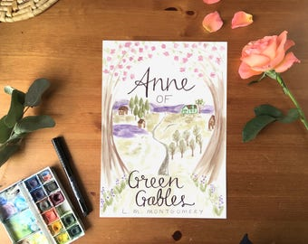 Anne of Green Gables Book cover Print | Booklover Gift Nursery Decor Literary Wall Art