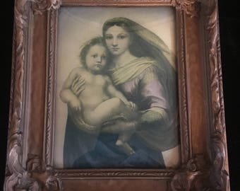 VTG Religious Print on Convex Glass Ornate Frame