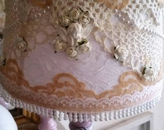 Lampshade style shabby chic and little vintage look lace and pearls