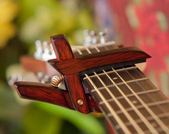 Flamed Bloodwood ~ Wooden Guitar Capo ~ Adjustable Tension ~ WoodenK ~ (Acoustic, Electric, Classical, Banjo & Ukulele) Guitar Player Gift