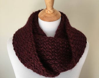 Burgundy Infinity Scarf - Chunky Knit Infinity Scarf - Loom Knit Scarf - Infinity Scarf- Scarves and Wraps - Molberri - Gifts for Her