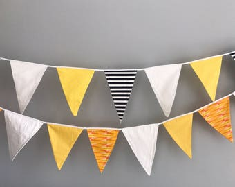 Beautiful Bright Bunting in Yellows, Oranges and White Flags *bottom