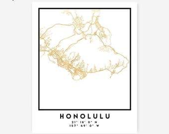 Honolulu Map Coordinates Print - Hawaii City Street Map Art Poster, Gold Honolulu Map Print, Honolulu Haiwaii Coordinates America Poster Map