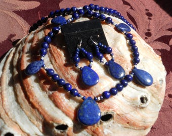 Dreamy and enlightening Lapis Lazuli has a deep blue appearence and an usually deep tone in gemstone world.  All Lapis for purity.