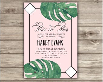 Bridal Shower Invitations Palm Tree Branch Green Garden Greenery Tropical Mrs to Miss
