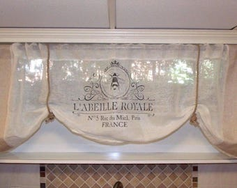 Custom Made Large French Country Script With High-End Linen Valan