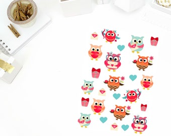 Valentine's Day Owls Stickers! Perfect for your Erin Condren Life Planner, calendar, Paper Plum, Filofax!