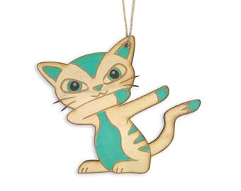 Dabbing Kitty Christmas Ornament
