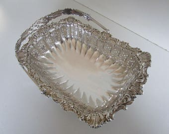 Silver Plated Basket, Fruit, Cake, Victorian, James Dixon, Sheffield, Circa 1897, English.