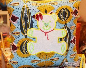African Cushion, African Textile Cushion, African Baby, African Teddy Bear, African Gifts, African Baby Gifts, African Baby Blanket, Baby