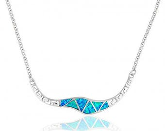 Blue Opal Wavy Sterling Silver Necklace with Meander Pattern