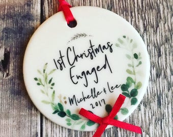 Personalised First Christmas Engaged Christmas Decoration Botanical....Round Ceramic ... - Tree Decoration - Ornament