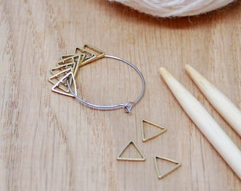 Triangle stitch markers for knittting or crochet; pack of 10 brass triangles with holder,
