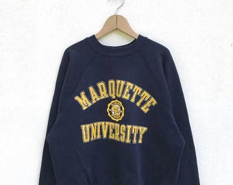 20% OFF Vintage Marquette University Sweatshirt / University Clothing / College Sweater / Armpit 23""