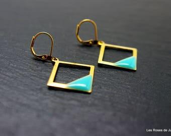 Square earrings, gold earrings,