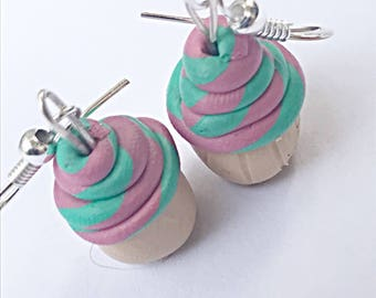 Deep Pink And Aqua Swirl Cupcake Dangle Earrings