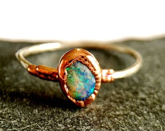 Solid Lightning Ridge Opal Ring, hand cut Opal, Copper Electroformed setting on a Sterling Silver Ring. Ring size Q, US ring size 8 1/2