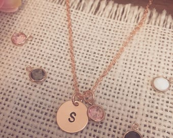 Hand Stamped Initial Disc Necklace   Optional Coloured Crystal Charm - Available in Rose Gold Plated