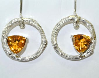 Citrine sterling silver earrings , FREE SHIPPING