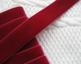 "Velvet nylon ribbon trim Bordeaux coloured, width 16mm (0.6"") non-elasticated PER METRE (1.1 yards)"