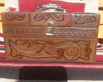 Vintage Tooled Leather Train Case with Key !