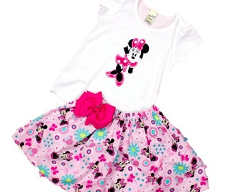 Minnie Mouse birthday outfit Minnie birthday dress  girl Minnie outfit  Minnie Mouse girl name outfit  Minnie applique dress toddler dress