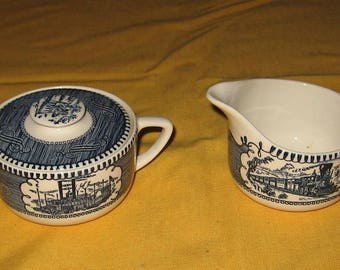 Currier and Ives sugar and creamer set