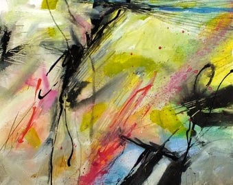 J. Taylor Abstract art Original painting on paper, FRAMED artwork, modern contemporary art, multi-coloured expressive colourful rainbow mix