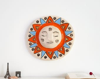 Wall art decoration Ceramic sun sculpture | Hanging room decor | Rustic Home decor | Goddess wall sculpture | Wall Art Decor | Hostess gift