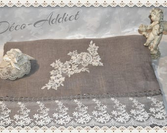 Gorgeous gray linen and lace on tulle and lace table runner