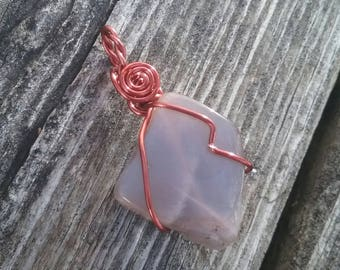 Gray Moonstone Pendant, Copper Wire wrapped Moonstone,Crystal Pendant, Gypsy Necklace, Wiccan Jewelry,Copper Moon Pendant, Healing Crystals