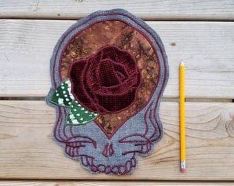Grateful Dead Stealie Patch//Rose// Handmade