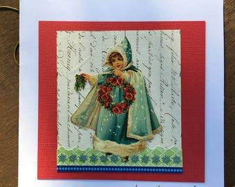 Vintage art card - ORIGINAL COLLAGE - The cape with ermine fur
